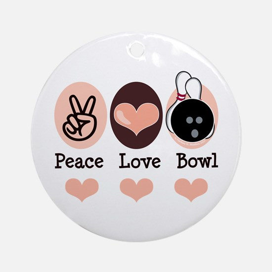 Peace Love Bowl Bowling Ornament (Round)