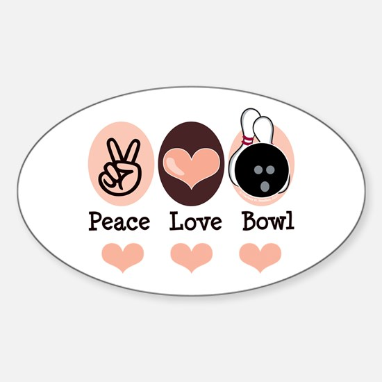 Peace Love Bowl Bowling Oval Decal