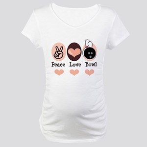 Peace Love Bowl Bowling Maternity T-Shirt