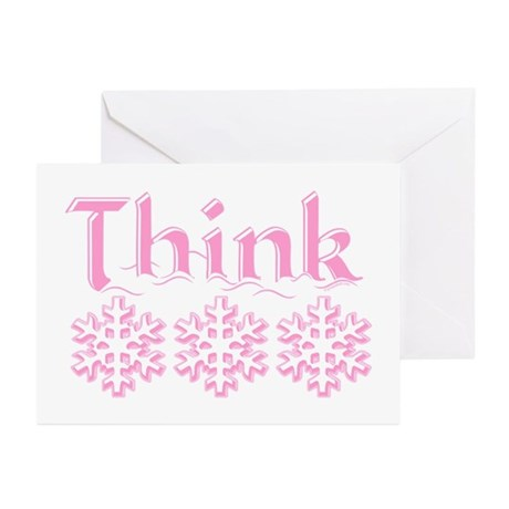 Think Snow Pink Greeting Cards (Pk of 10)