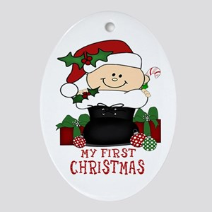 First Christmas Baby Santa's Boot Oval Ornament