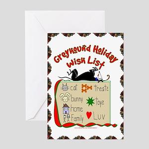 GREYHOUND HOLIDAY WISH LIST GREETING CARD