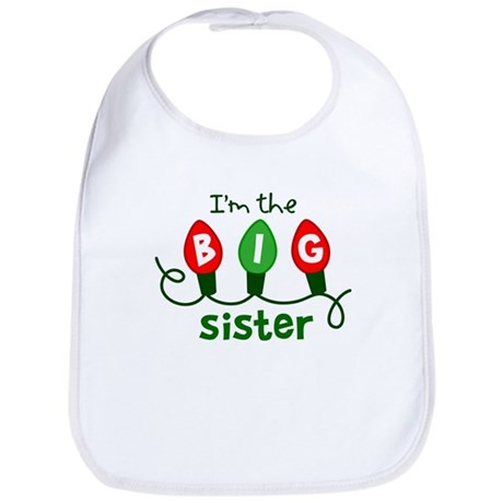 Big Sister Christmas lights Bib