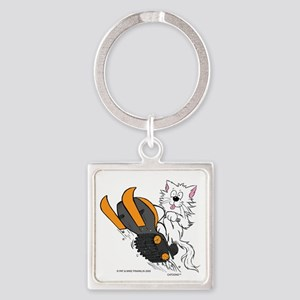 Snowmobile Cat in Color Orange Keychains