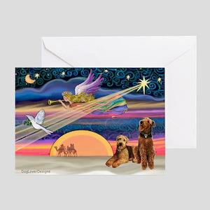 Xmas Star/2 Airedales Greeting Card