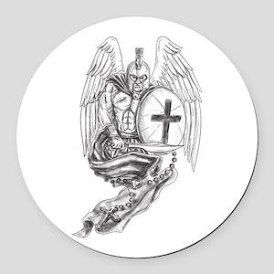 Spartan Warrior Angel Shield Rosary Tattoo Round C