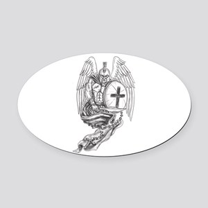 Spartan Warrior Angel Shield Rosary Tattoo Oval Ca
