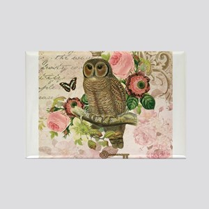 Vintage French shabby chic owl Magnets