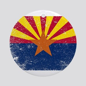 Arizona State Flag Grunge Round Ornament