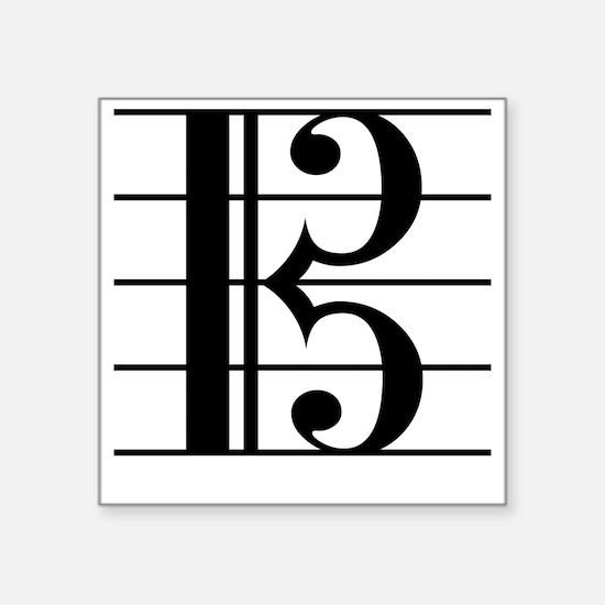 """Cute Viola clef Square Sticker 3"""" x 3"""""""
