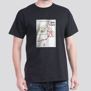 Rhode Island State Map and Flag T-Shirt