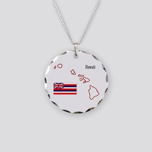 Hawaii State Map and Flag Necklace Circle Charm