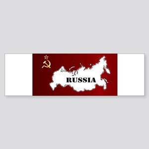 Russian Flag and Map Bumper Sticker