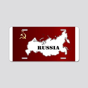 Russian Flag and Map Aluminum License Plate