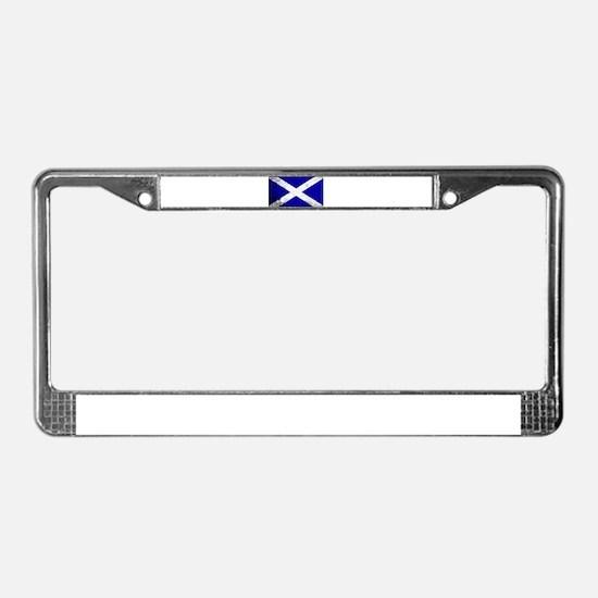 Scotish Flag Grunge License Plate Frame