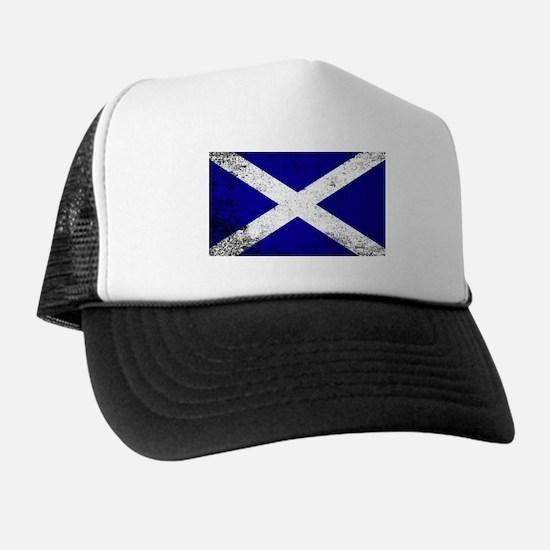 Scotish Flag Grunge Trucker Hat