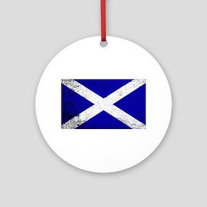 Scotish Flag Grunge Round Ornament