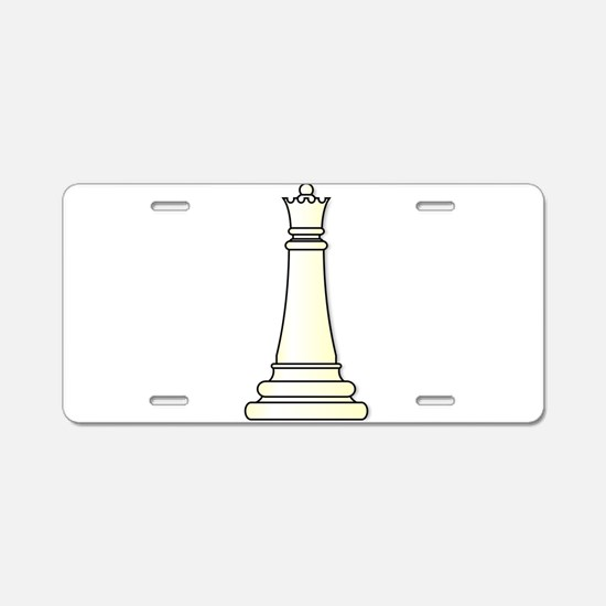White Queen Aluminum License Plate