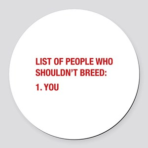 List Of People Round Car Magnet