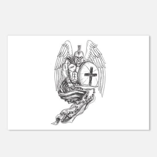 Spartan Warrior Angel Shield Rosary Tattoo Postcar