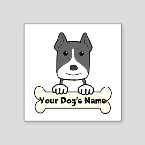 "Personalized Pit Bull Square Sticker 3"" X 3&q"