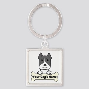 Personalized Pit Bull Square Keychain