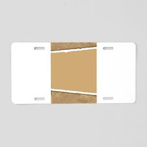 Torn Brown Paper Aluminum License Plate