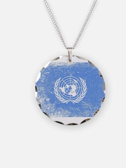 United Nations Flag Grunge Necklace