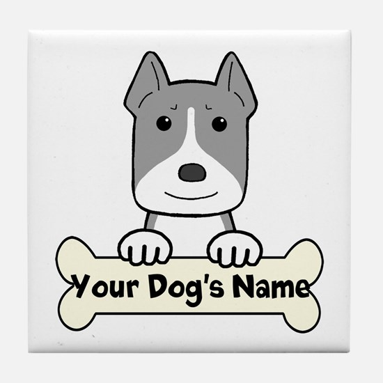 Personalized Pit Bull Tile Coaster