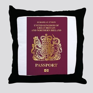 British Passport Throw Pillow