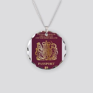 British Passport Necklace Circle Charm