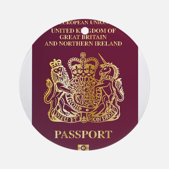 British Passport Round Ornament