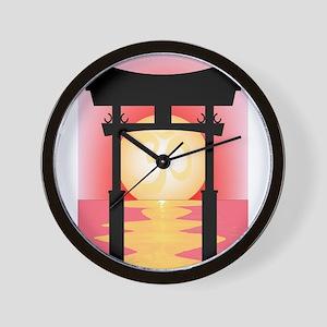 Japanese Tori Gate Sunset Wall Clock