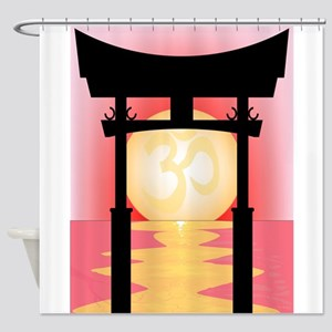 Japanese Tori Gate Sunset Shower Curtain