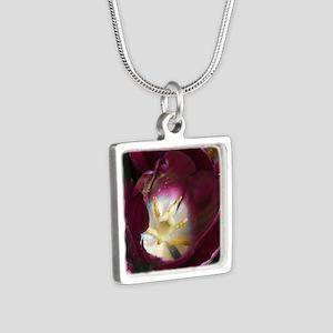 purple flower Silver Square Necklace