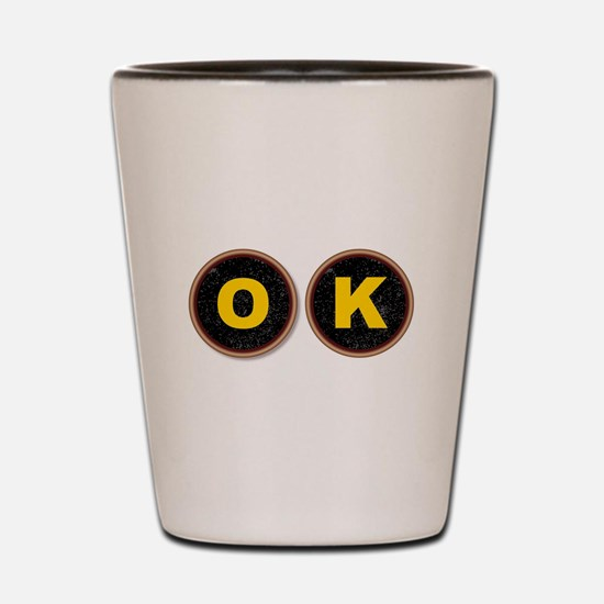 OK Typewriter Keys Shot Glass