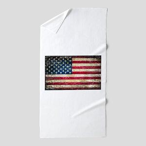 Faded American Flag Beach Towel