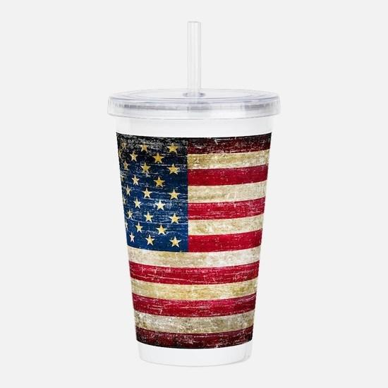 Faded American Flag Acrylic Double-wall Tumbler