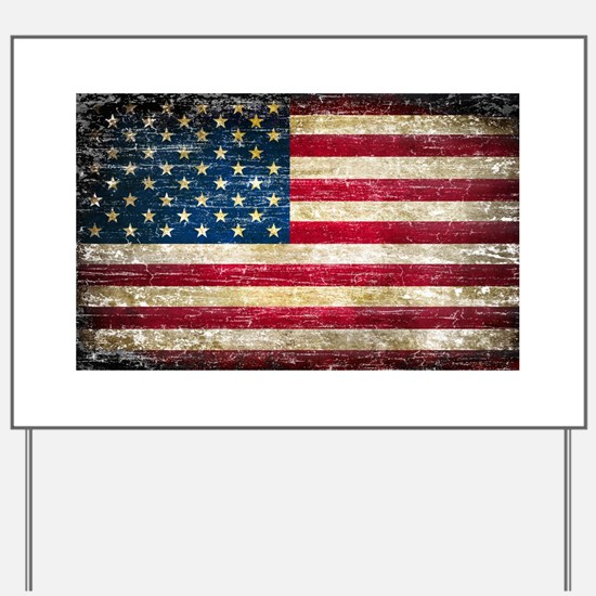 Faded American Flag Yard Sign