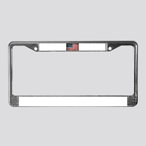 Faded American Flag License Plate Frame