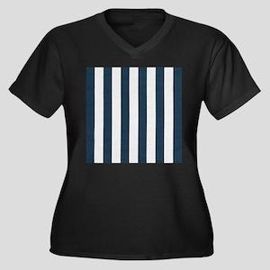 coastal blue nautical stripes Plus Size T-Shirt