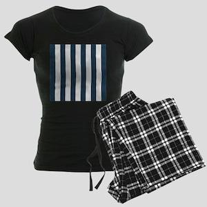 coastal blue nautical stripe Women's Dark Pajamas