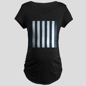 coastal blue nautical stripes Maternity T-Shirt