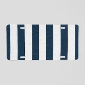coastal blue nautical strip Aluminum License Plate