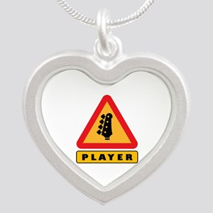 Electric Bass Player Caution Sign Necklaces