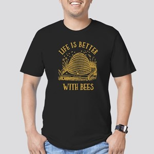 Life's Better With Bee Men's Fitted T-Shirt (dark)