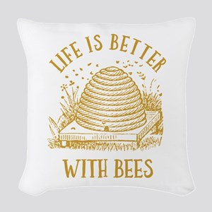 Life's Better With Bees Woven Throw Pillow