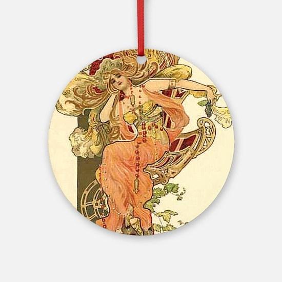Fall Autumn Art Nouveau Lady Ornament / Necklace