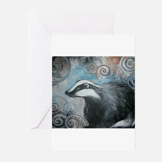Spiral badger Greeting Cards