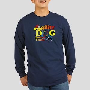 Boston Terrier Agility Long Sleeve Dark T-Shirt